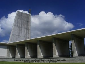 A Conning Tower under which Spread Wings over Columns of Marching Men - The Singapore Memorial - Kranji War Cemetery, Singapore.