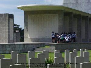 A Teacher and her Pupils explore the Singapore Memorial in Kranji War Cemetery, Singapore