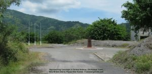 Approaching Cenotaph in Central Avenue, Old Rabaul Town, New Britain Island, Papua New Guinea