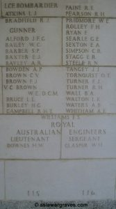 Brown W.E., Victoria Cross, Singapore Memorial - Column 115, Singapore