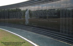 Capas National Shrine and some of the c30,000 names engraved on the Wall Of Heroes, Philippines