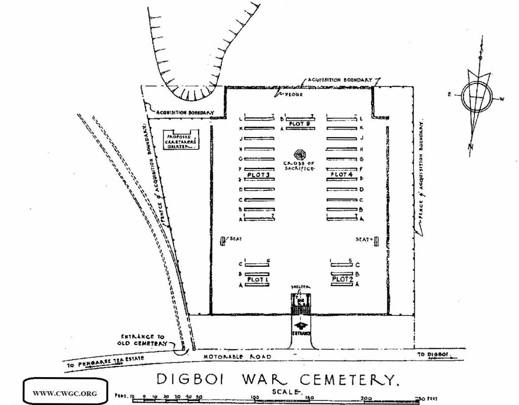 Cemetery Plan for CWGC Digboi War Cemetery, Assam, India