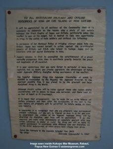Image seen inside Kokopo War Museum, Rabaul,