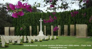 Kirkee Memorial - 12 stone columns (24 faces) and c2000 names - Pune, India