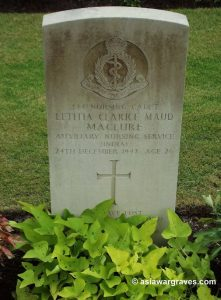 Nursing Cadet LETITIA CLARICE MAUD MACLURE (ANS India), Kirkee War Cemetery, Pune, India