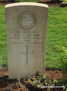 Private Anita Jerome (WAC India), CWGC Kirkee War Cemetery, Pune, India