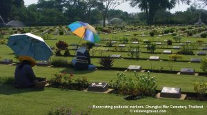 Renovating pedestal markers, Chungkai War Cemetery, Thailand