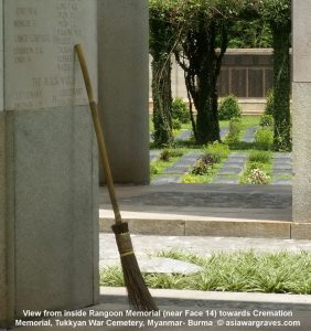 View from inside Rangoon Memorial (near Face 14) towards Cremation Memorial, Tukkyan War Cemetery, Myanmar- Burma