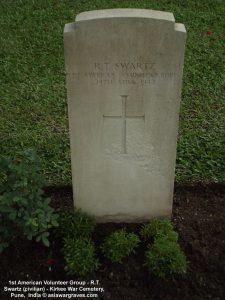 1st American Volunteer Group - R.T. Swartz (civilian) - Kirkee War Cemetery, Pune, India