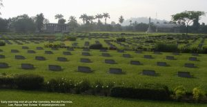 Early-morning mist at Lae War Cemetery, Morobe Province, Lae, Papua New Guinea