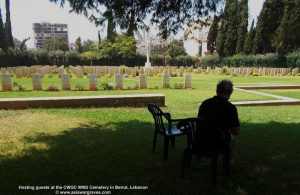Hosting guests at the CWGC WW2 Cemetery in Beirut, Lebanon © asiawargraves.com