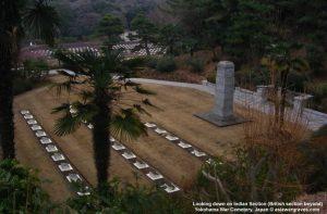 Looking down on Indian Section - British section beyond - Yokohama War Cemetery, Japan