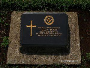 Olga Mary Neubronner, St. John Anbulance Brigade, Jakarta War Cemetery, Indonesia