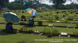 Renovating pedestal markers, Chungkai War Cemetery, Thailand