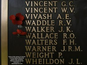 Some of the names in Column 5 of the Ambon Memorial, Ambon War Cemetery, Molucca Islands Group, Indonesia