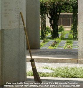 View from inside Rangoon Memorial (near Face 14) towards Cremation Memorial, Tukkyan War Cemetery, Myanmar- Burma