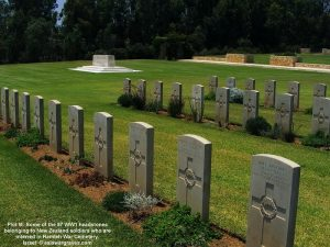WW1 and Plot M. Some of the 87 headstones belonging to New Zealand soldiers interred in Ramleh War Cemetery, Israel
